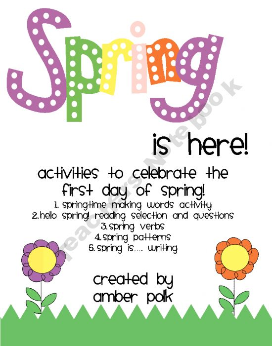 free packet of activities to use in your classroom to celebrate the first day of Spring (Gr. 1-5)
