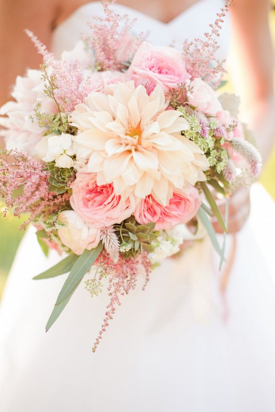Peach and coral  Wedding Bouquet - Photographer: Katelyn James                                                                                                                                                      More