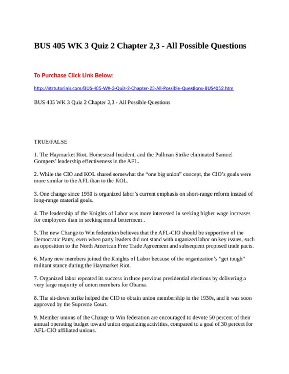 BUS 405 WK 2 Quiz 1 Chapter 1 - All Possible QuestionsTo Purchase - good faith agreement