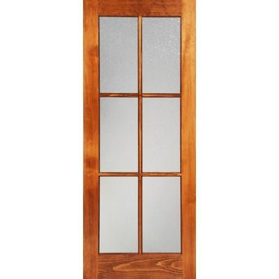 Milette 30x80 interior 6 lite french door clear pine with privacy konfetti glass home depot for Interior french doors