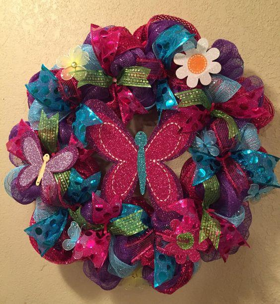 Spring wreath summer wreath butterly wreath flower by WandNDesigns