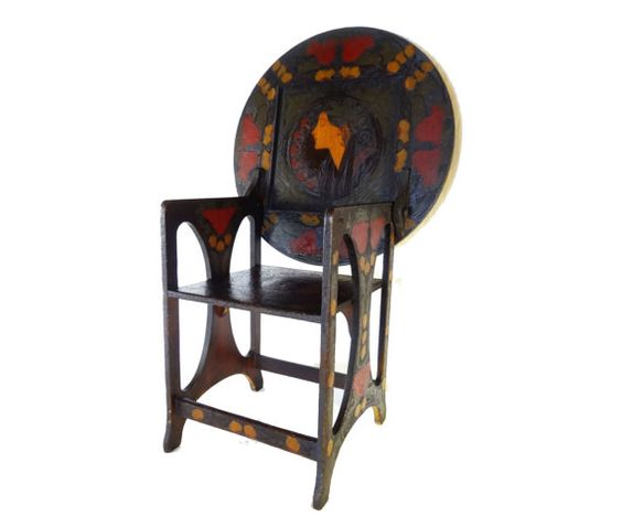 Antique Hutch Table Decorated with Art by AmuletArtandAntiques, $1750.00