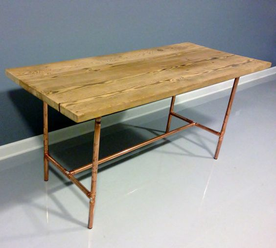 Copper Wooden Coffee Table: Reclaimed Wood Table Copper Industrial Pipe Legs
