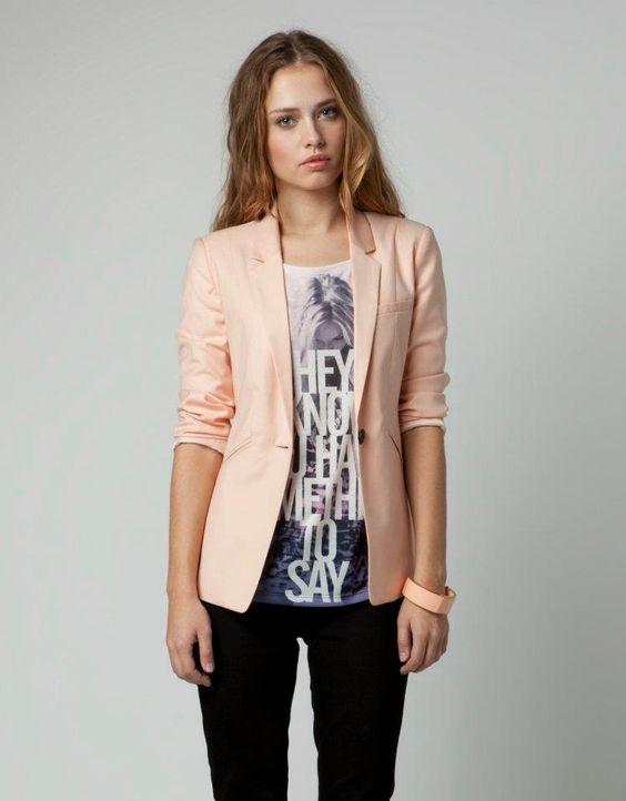 Pale Pink Womens Blazer | Fashion Ql