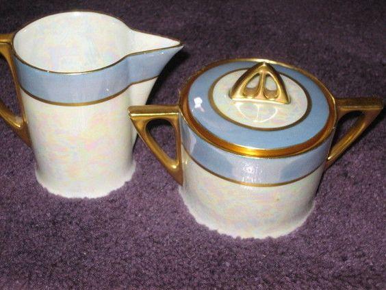 Vintage Hutschenreuther Selb LHS Bavaria Creamer and Sugar Bowl - embossed gold #HutschenreutherSelbLHS