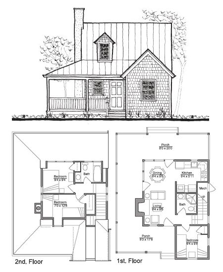 Small House Plans   Small Houses  Building Section and Floor PlansSheldon Designs  Their blueprints include a foundation plan  floor plans  building sections  elevations of each side  materials list  and large scale