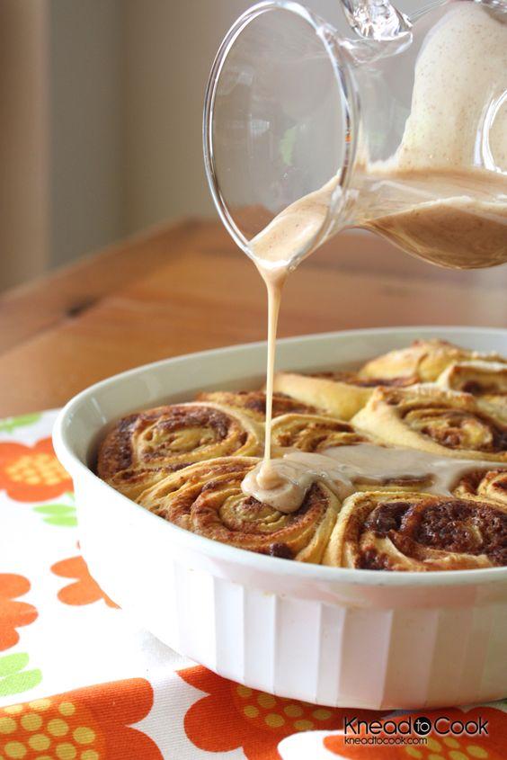 Pumpkin Cinnamon Rolls with Pumpkin Spice Glaze..great for thanksgiving breakfast
