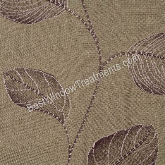 Sumatra Curtain Panel in sage green and chocolate brown leaf ...