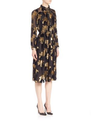 ADAM LIPPES Knee-Length Leaf Embossed Dress. #adamlippes #cloth #dress
