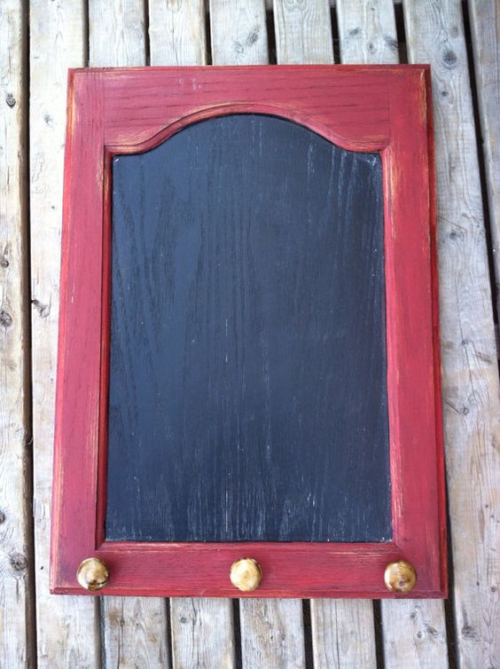 Repurposed Cabinet Door Shabby Chic Brick Red Chalk Board
