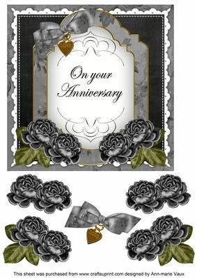 Black Rose Anniversary Fancy 7in Decoupage Topper on Craftsuprint - Add To Basket!