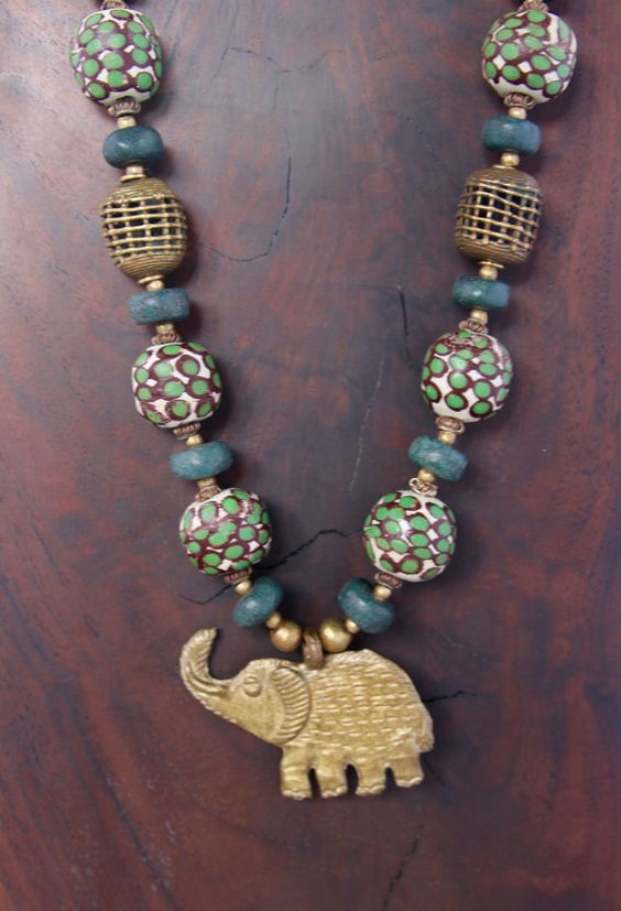 African Brass Elephant Necklace w Large African by CatchingWaves