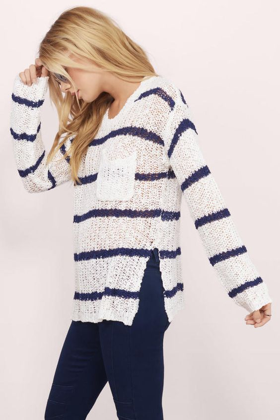 Sweaters, Tobi, White & Navy Cambria Striped Knit Sweater