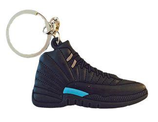 Nike Jordan 12 XII All Black Baby Blue Flat Keychain