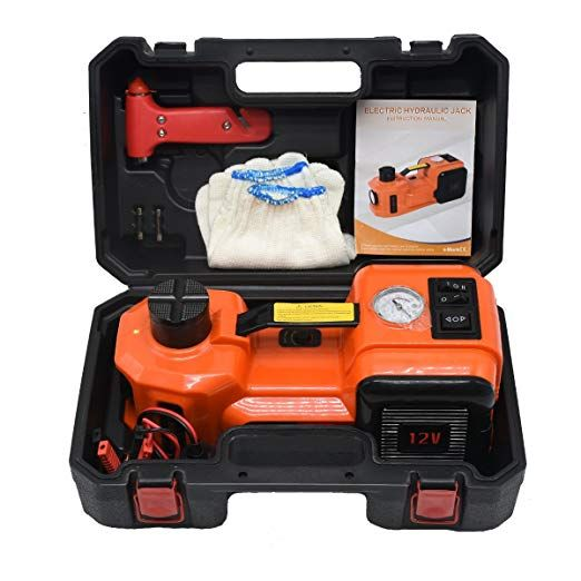 Get Back Quickly On The Road By Upgrading Your Car Jack To The All In One Tire Changing Kit The Automatic 12v Dc Tire Change Floor Jack Tire Inflator Car Jack
