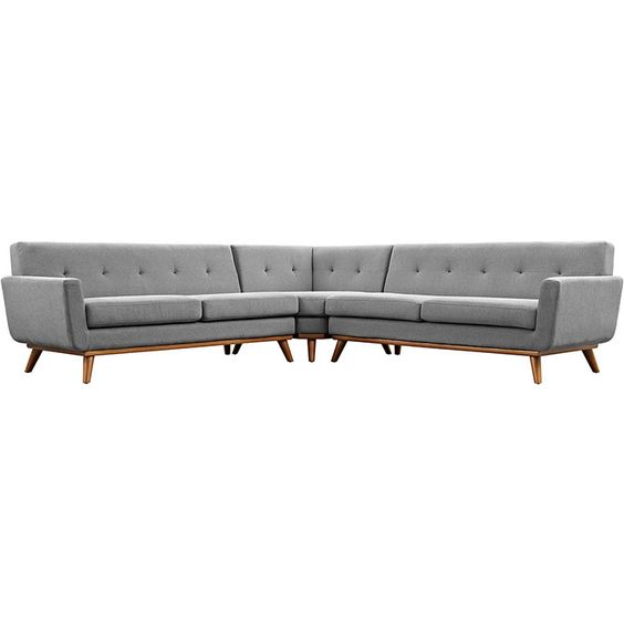 Modway Furniture Modern Fabric Engage L-Shaped Sectional Sofa