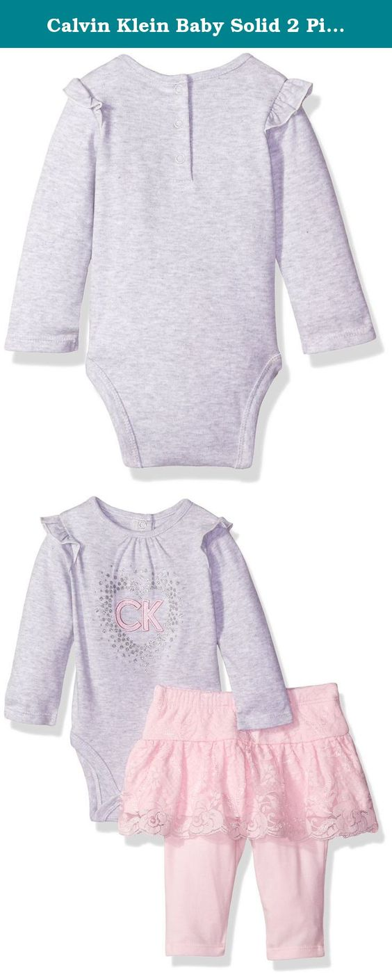 Calvin Klein Baby Solid 2 Piece Skegging Set, Gray, 0/3 Months. Girls 2 pieces pant set - heather bodysuit with stretch lace and solid leggings.