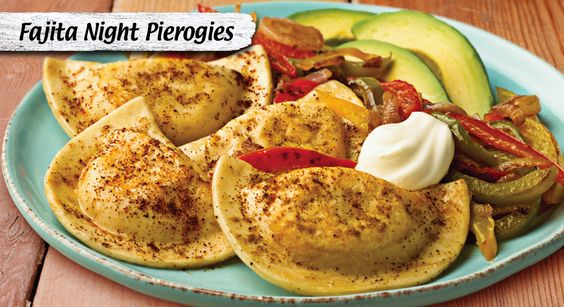 Let+onions+and+peppers+sizzle+with+pierogies+and+fajita+spices+for+a+Mexican-inspired+feast.++