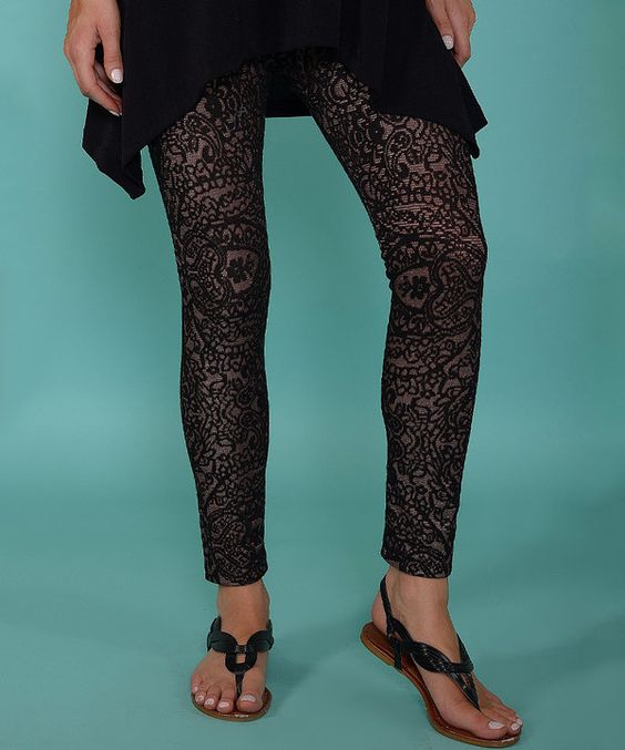 Look at this Lbisse Black & Gray Lace Leggings - Women on #zulily today!