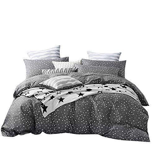 Bulutu 3 Pieces Cotton Duvet Cover Set King Grey White Little Stars Print Pattern King Duvet Cover Bedding S Kids Duvet Cover Comforter Cover Black Duvet Cover