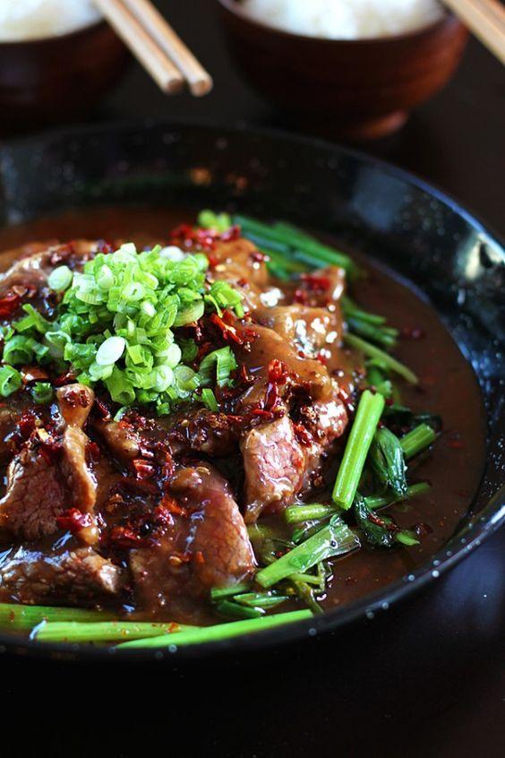 Sichuan Beef in Fiery Sauce  Sichuan beef in fiery sauce says it all. It is hot…