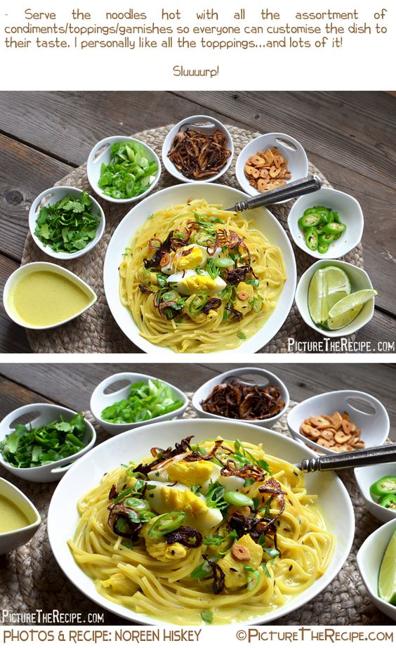 Khow Suey (Noodles in a Coconut Curried Sauce)   Picture the Recipe {omit chicken and egg}