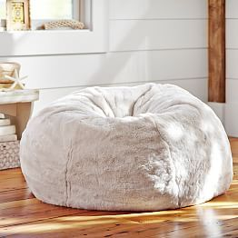 Ivory Polar Bear Faux Fur Beanbag                              …