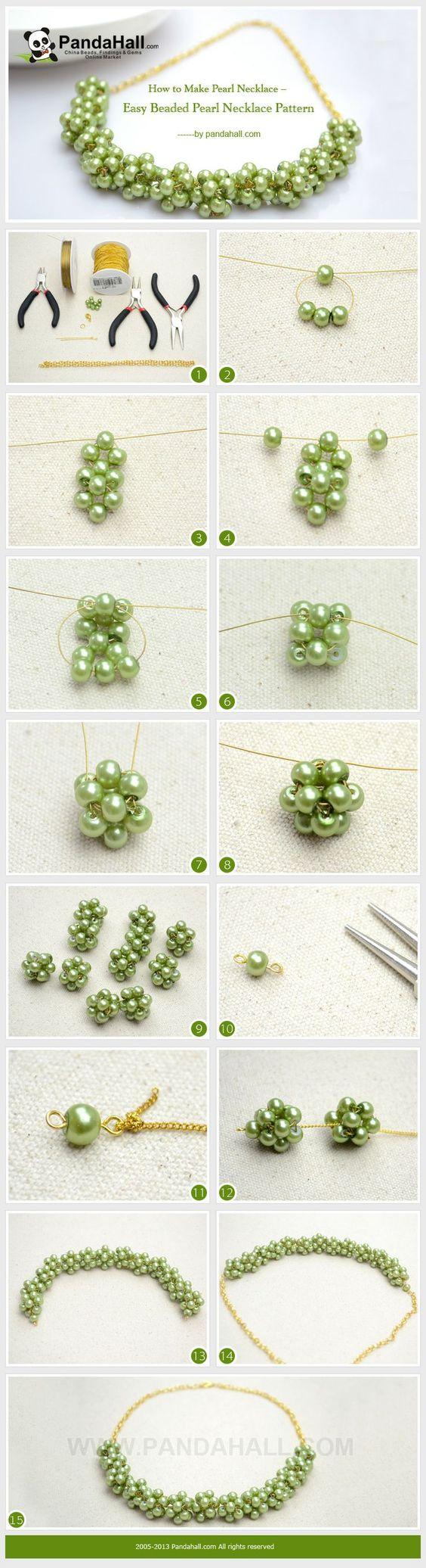 Cómo hacer collar de perlas. Patrón fácil - How to Make Pearl Necklace. Easy Pattern