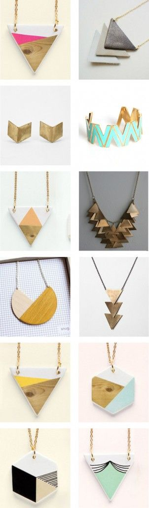 Geometric Jewelry Round-Up - knowncreative.com (might have to try to make a couple of these :):