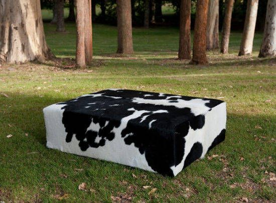 A Modern Black And White Cowhide Coffee Table Ottoman By Gorgeous Creatures  Who Are A Cowhide Ottoman And Leather Decor Specialists. Www.gorgeouscru2026