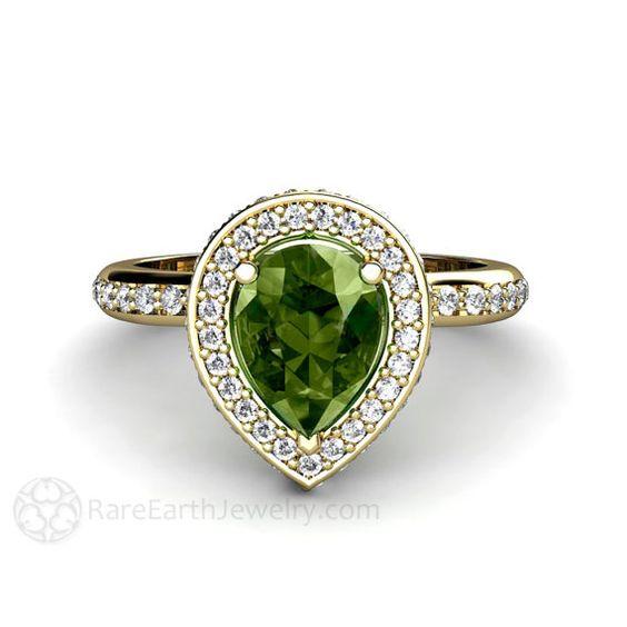 Anillo de compromiso de zafiro verde pera Halo por RareEarth