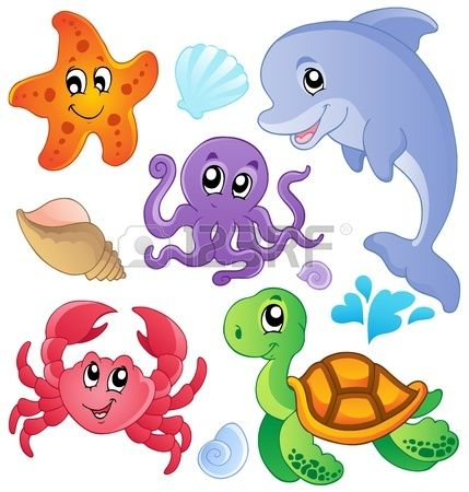 Sea fishes and animals collection 3 - vector illustration