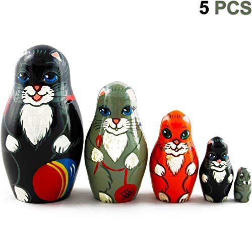 5pcs Hand Painted Lucky Cat Russian Matryoshka Nesting Dolls Maneki Neko Toy