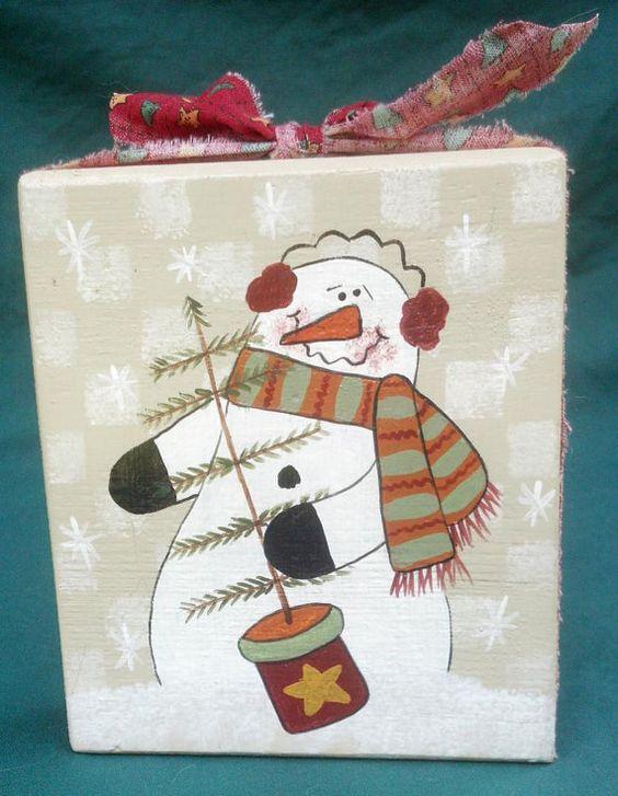 Cute Snowman Shelf Sitter Block by debbyvg on Etsy, $8.00