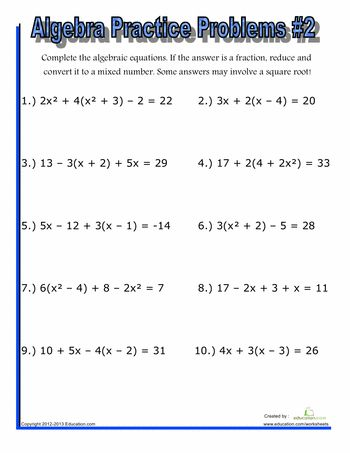 Printables Algebra Practice Problems Worksheet algebra practice problems 2 articles worksheets and 2