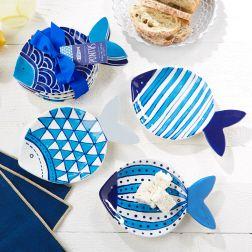 Set of 4 Fish Plates Asst 4 Designs