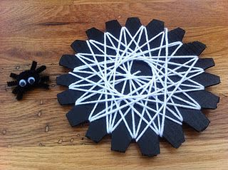 Not crazy about the 'spider' theme, but love this simple weaving exercise.