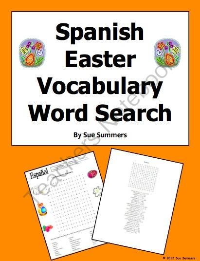 spanish easter vocabulary word search puzzle and 24 word vocabulary list shops spanish and search. Black Bedroom Furniture Sets. Home Design Ideas