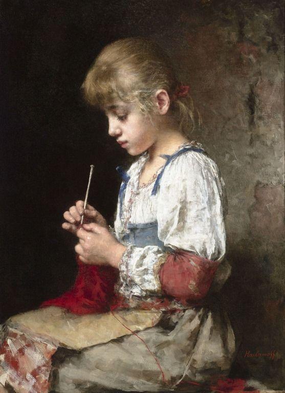 Alexei Alexeievich Harlamoff ~ A Young Girl Crocheting