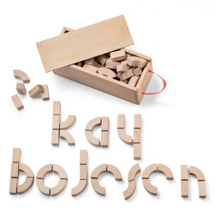 Wooden Alphabet blocks by Kay Bojesen Denmark. A box of Alphabet blocks with 33 curved and 33 straight blocks http://www.wannekes.com/en/-quality-wooden-toys-children-uncle-goose-vilac-kay-bojesen-naef/1818-wooden-alphabet-blocks-kay-bojesen-denmark.html.
