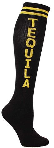 Black knee high socks with TEQUILA in yellow lettering and cushioned footbed.  Unisex design: fits a women's shoe size 7 - men's 13.5.