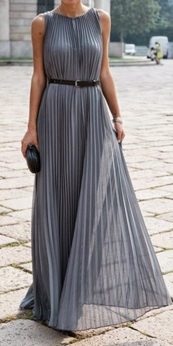 Grey Pleated Maxi Dress: