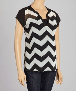 Look what I found on #zulily! QT Maternity Black & White Zigzag Maternity V-Neck Top - Women by QT Maternity #zulilyfinds