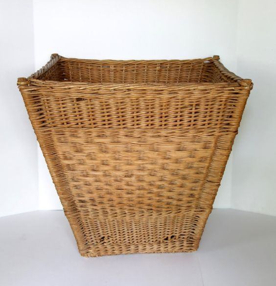 Vintage Woven Wicker Basket Large French Harvest by BeeHavenHome