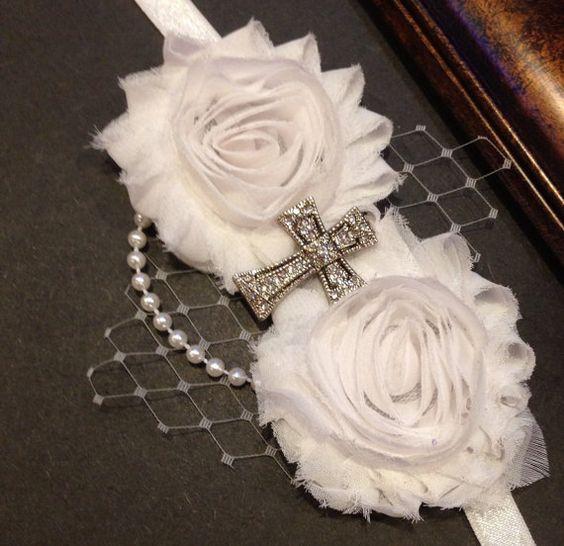 White Headband First Holy Communion Baptism Christening Wedding Flower Girl on Etsy, $12.99