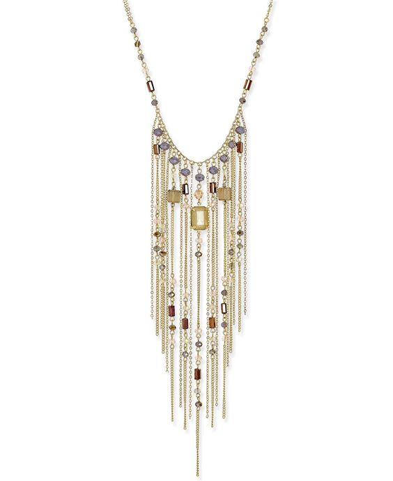 Inc International Concepts Gold-Tone Multi-Stone Fringe Statement Necklace, Only at Macy's