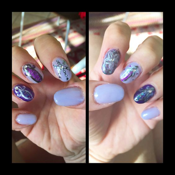 Nail Art Violet And Purple Polish Gel With Abstract Designs Viva
