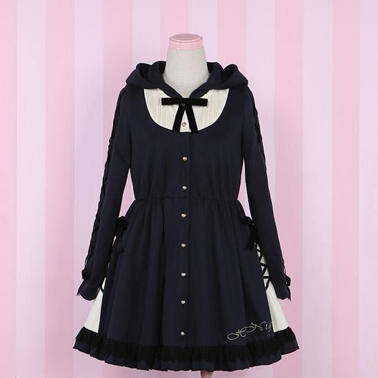 S/M Pale Navy Besom Enchanter Dress Hoodie Coat SP154401
