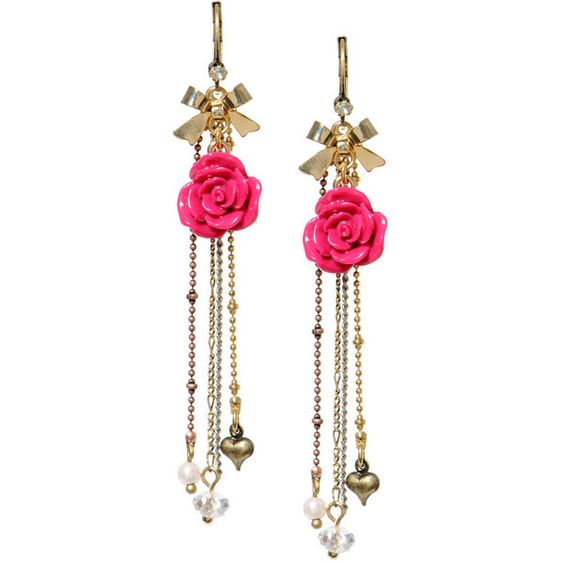 Pink Rose Drop Earrings ($38) ❤ liked on Polyvore