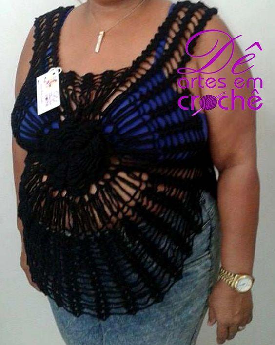 Blusa Flor em Crochê Plus Size  http://www.elo7.com.br/2566de